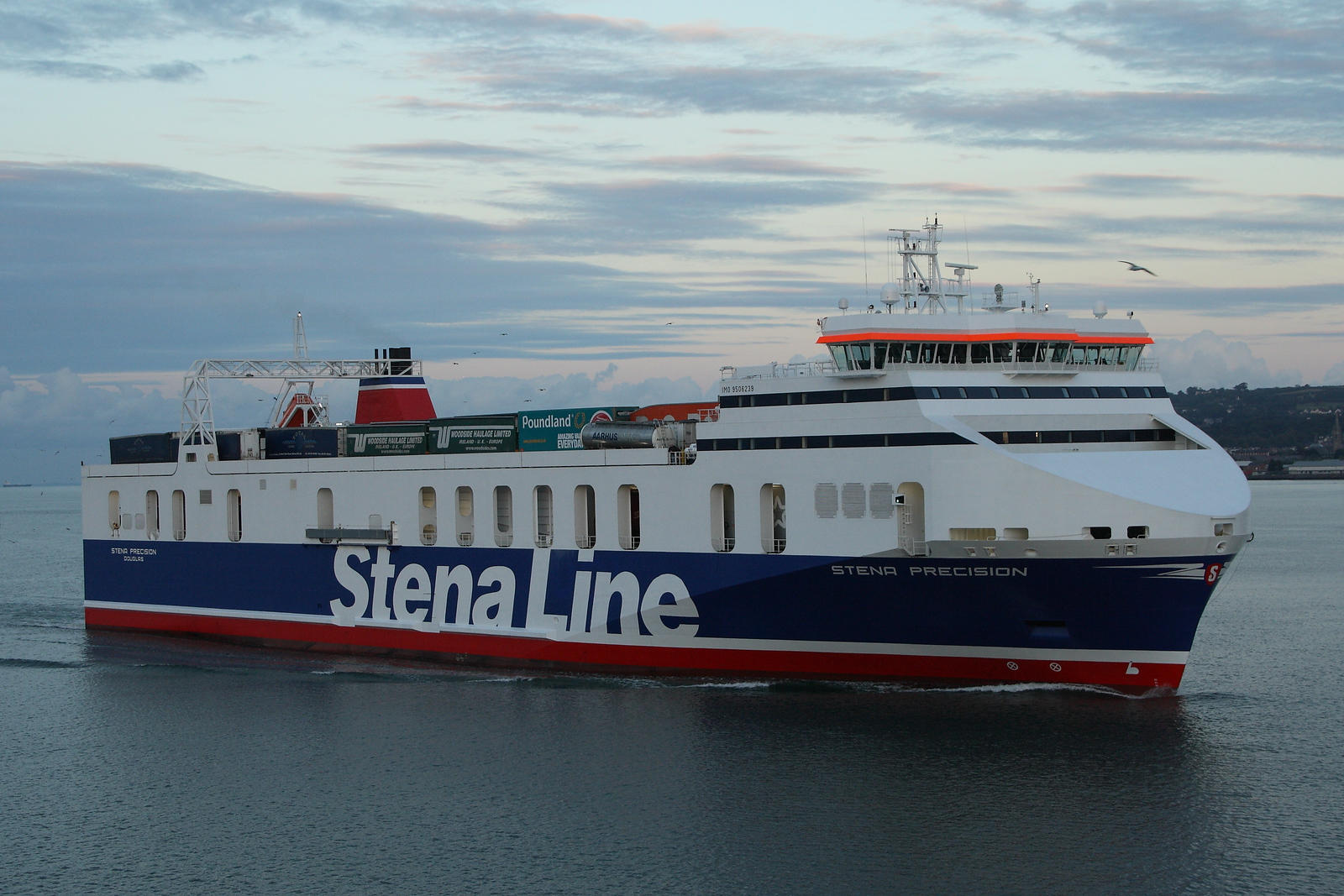 The Stena Precision arriving at Belfast Harbour. The vessel is owned by Seatruck Ferries and is on charter to Stena Line.