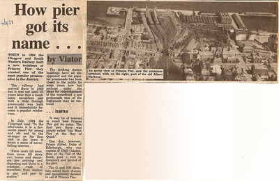 Article from the Greenock Telegraph from 4th November 1988 on how Princes Pier got it's name